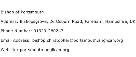 Bishop of Portsmouth Address Contact Number