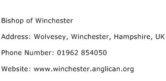 Bishop of Winchester Address Contact Number