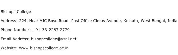 Bishops College Address Contact Number