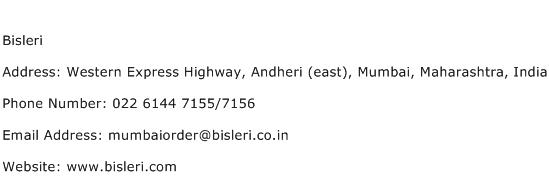 Bisleri Address Contact Number