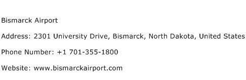Bismarck Airport Address Contact Number