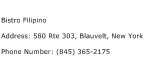 Bistro Filipino Address Contact Number