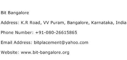 Bit Bangalore Address Contact Number