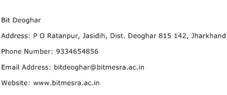 Bit Deoghar Address Contact Number