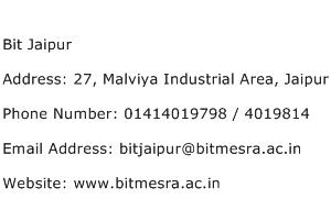 Bit Jaipur Address Contact Number