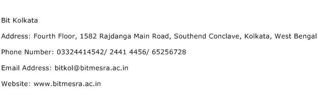 Bit Kolkata Address Contact Number
