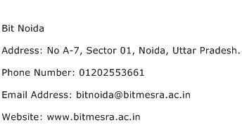 Bit Noida Address Contact Number