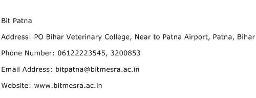 Bit Patna Address Contact Number