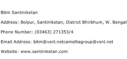 Bitm Santiniketan Address Contact Number