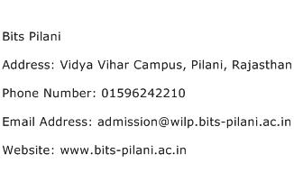 Bits Pilani Address Contact Number