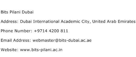 Bits Pilani Dubai Address Contact Number