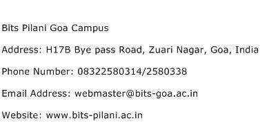 Bits Pilani Goa Campus Address Contact Number