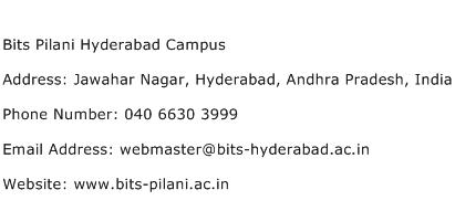 Bits Pilani Hyderabad Campus Address Contact Number