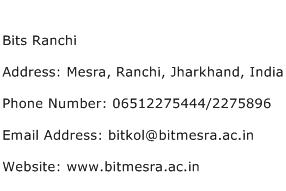 Bits Ranchi Address Contact Number