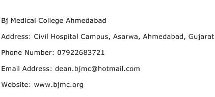 Bj Medical College Ahmedabad Address Contact Number