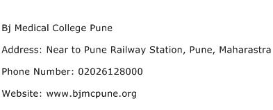 Bj Medical College Pune Address Contact Number