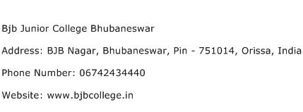 Bjb Junior College Bhubaneswar Address Contact Number