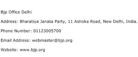Bjp Office Delhi Address Contact Number