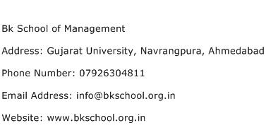 Bk School of Management Address Contact Number
