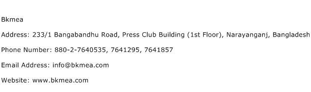 Bkmea Address Contact Number
