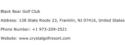 Black Bear Golf Club Address Contact Number