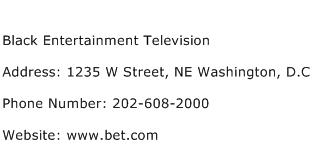 Black Entertainment Television Address Contact Number