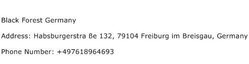 Black Forest Germany Address Contact Number