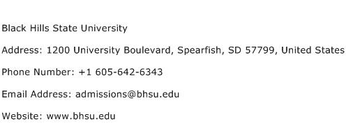 Black Hills State University Address Contact Number