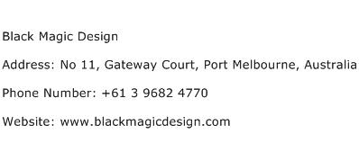 Black Magic Design Address Contact Number
