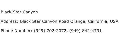 Black Star Canyon Address Contact Number