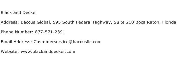 Black and Decker Address Contact Number