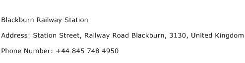 Blackburn Railway Station Address Contact Number