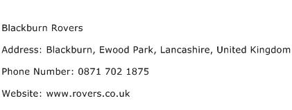 Blackburn Rovers Address Contact Number