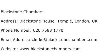 Blackstone Chambers Address Contact Number
