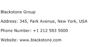 Blackstone Group Address Contact Number