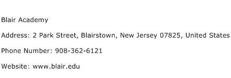Blair Academy Address Contact Number