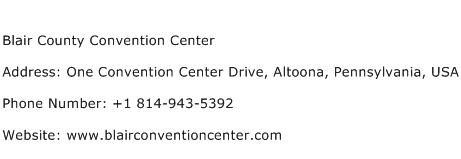 Blair County Convention Center Address Contact Number