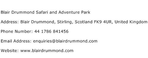 Blair Drummond Safari and Adventure Park Address Contact Number