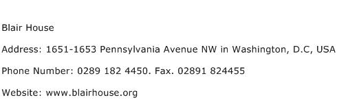 Blair House Address Contact Number