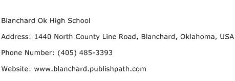 Blanchard Ok High School Address Contact Number