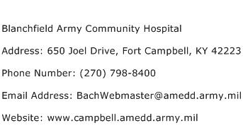 Blanchfield Army Community Hospital Address Contact Number