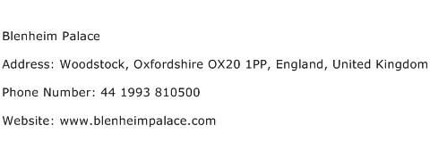 Blenheim Palace Address Contact Number