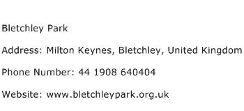 Bletchley Park Address Contact Number