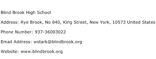 Blind Brook High School Address Contact Number