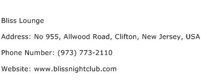 Bliss Lounge Address Contact Number