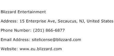 Blizzard Entertainment Address Contact Number