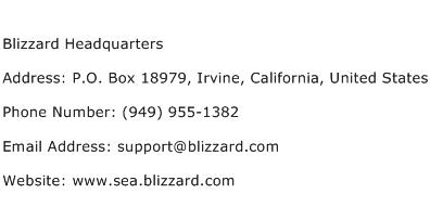 Blizzard Headquarters Address Contact Number