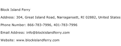 Block Island Ferry Address Contact Number
