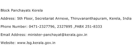 Block Panchayats Kerela Address Contact Number