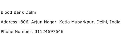 Blood Bank Delhi Address Contact Number